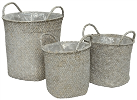 Set Of 3 White Sea Grass Baskets With Liner- Assorted Sized Set- 24cm