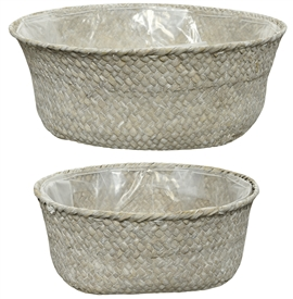 Set Of 2 White Sea Grass Baskets With Liner- Assorted Sized Set- 30cm
