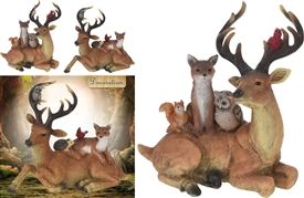 Reinder With Woodland Critters Ornament 2 Assorted
