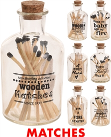 Glass Bottle With Matches 6 Assorted