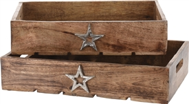 Set Of 2 Wooden Trays With Star