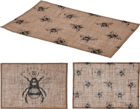 Linen Bee Print Placemat 2 Assorted