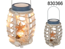 Wooden Lantern With Rope Light Chain 41cm