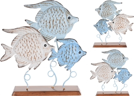 Round Metal Fish On Wooden Base 2 Assorted
