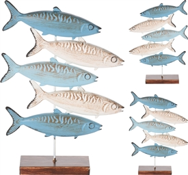 Long Metal Fish On Wooden Base 2 Assorted