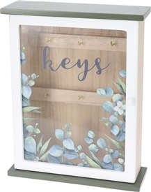 Floral Key Cabinet With Glass Door