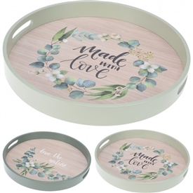 Floral Set Of 2 Round Serving Trays