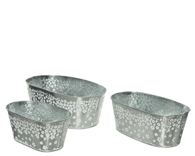Set Of 3 Zinc Silver Planters With Flower Design- Assorted Sized Set- 30cm
