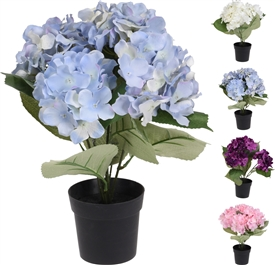Artificial Flowers In Pot 4 Assorted
