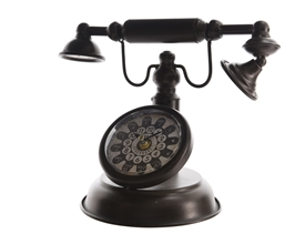 Old Vintage Telephone Style Black Iron Clock- 31cm