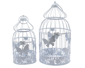 Set Of 2 White Iron Ornamental Birdcages- Assorted Sized Set- 34cm