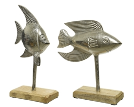 Silver Aluminium Tropical Fish Set On Mangowood Mount- 2 Assorted- 31cm