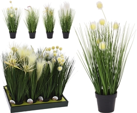 DUE APRIL/ MAY Artificial Grass And Plant In Pot 4 Assorted 46cm