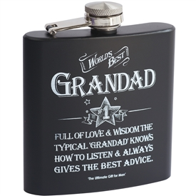 Worlds Best Grand Dad Hip Flask 17cm
