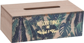 Wood Leaf Tissue Box 25cm