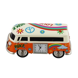 Minature Orange Camper Van Clock