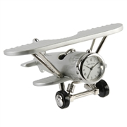 Miniature Metal Bi-Plane Clock 11x9cm