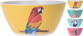 Bamboo Fibre Tropical Bird Medium Bowl 4 Assorted