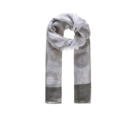 Ladies Grey And White Long Scarf With Circular Print 180cm