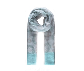 Ladies Blue And White Long Scarf With Circular Print 180cm