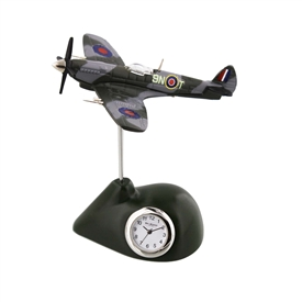 Minature Army Coloured Spitfire Plane Clock