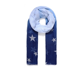Long Two Tone Blue Ladies Ombre Star Print Scarf 180cm