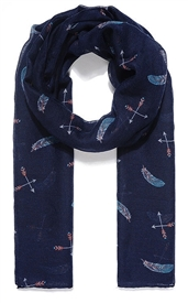 Navy Feather And Arrow Print Scarf 180cm