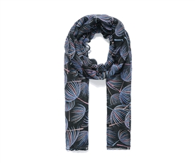 Ladies Black Long Scarf With Colourful Dandelion Print 180cm