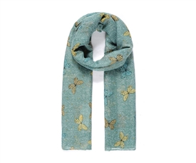 Ladies Long Green Scarf With Pretty Butterfly Print 180cm