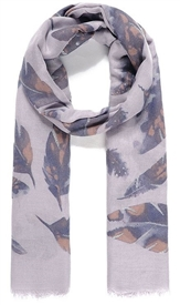 Grey Feather Print Scarf 180cm
