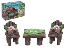 DUE 02/21 Secret Fairy Garden Bench And Chairs