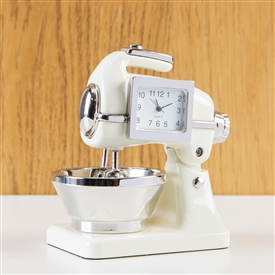 Minature Retro Cream Food Mixer Clock
