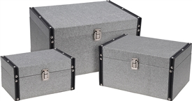 Set Of 3 Silver Storage Boxes