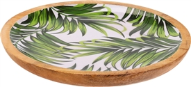 Wood Bowl With Leaf Print Design