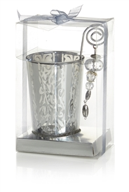 Silver Glass Tea Light Holder 11cm