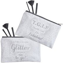 White And Silver Zip Make Up Bag 2 Assorted