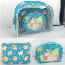 Unicorn 3 Piece Vanity Bag Set
