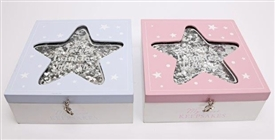 Baby Glitter Star Keepsake Box 2 Assorted Colours 18cm
