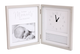 Birth Details and Clock Photo Frame 26x21cm