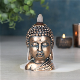 Bronze Buddha Head Backflow Burner 9cm
