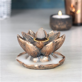 Bronze Lotus Flower Backflow Incense Burner 7cm
