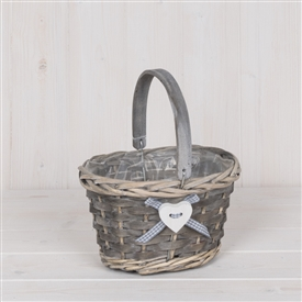 Wicker Basket With Wooden Handle  21cm
