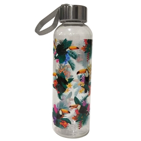 500ml Toucan Party Water Bottle With Metallic Lid