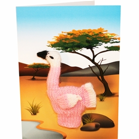 Flamingo Finger Puppet Greetings Card