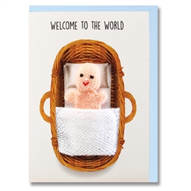 New Baby Boy Finger Puppet Greetings Card