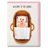 New Baby Girl Finger Puppet Greetings Card