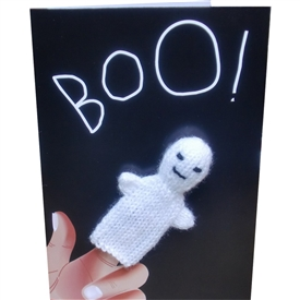 Ghost Finger Puppet Greetings Card