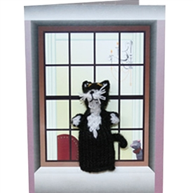 Black And White Cat Finger Puppet Greetings Card