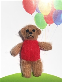 Red Teddy Finger Puppet Greetings Card