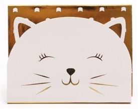 White And Gold Cat Magnetic Note Pad 10cm